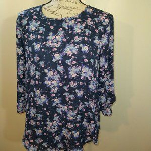 Pink Republic Top Blue Floral Roll Tab Sleeves